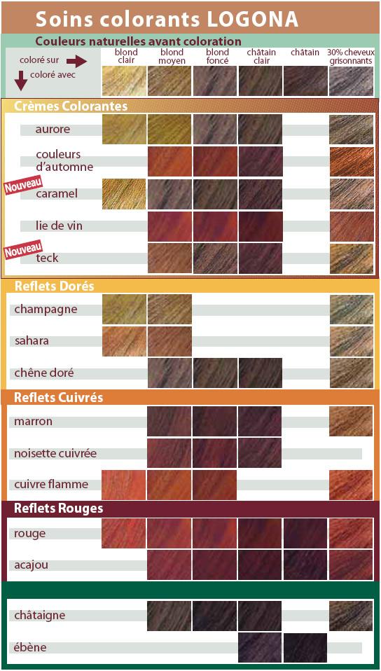 Palette de couleur pour coloration cheveux