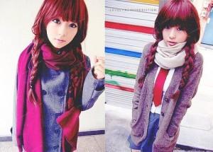 Modèle coloration cheveux rouge framboise