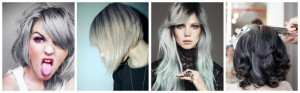 Jolie coloration cheveux en gris