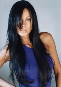 Exemple coloration cheveux noir bleuté