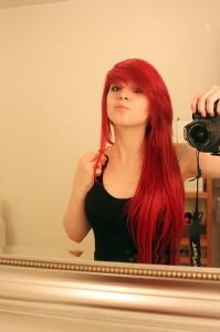 Modèle coloration cheveux rouge vif