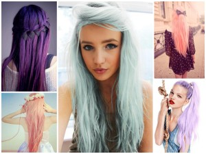 Idée coloration cheveux violet pastel