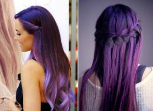 Jolie coloration cheveux violet