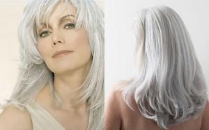 Belle coloration cheveux gris pour femme